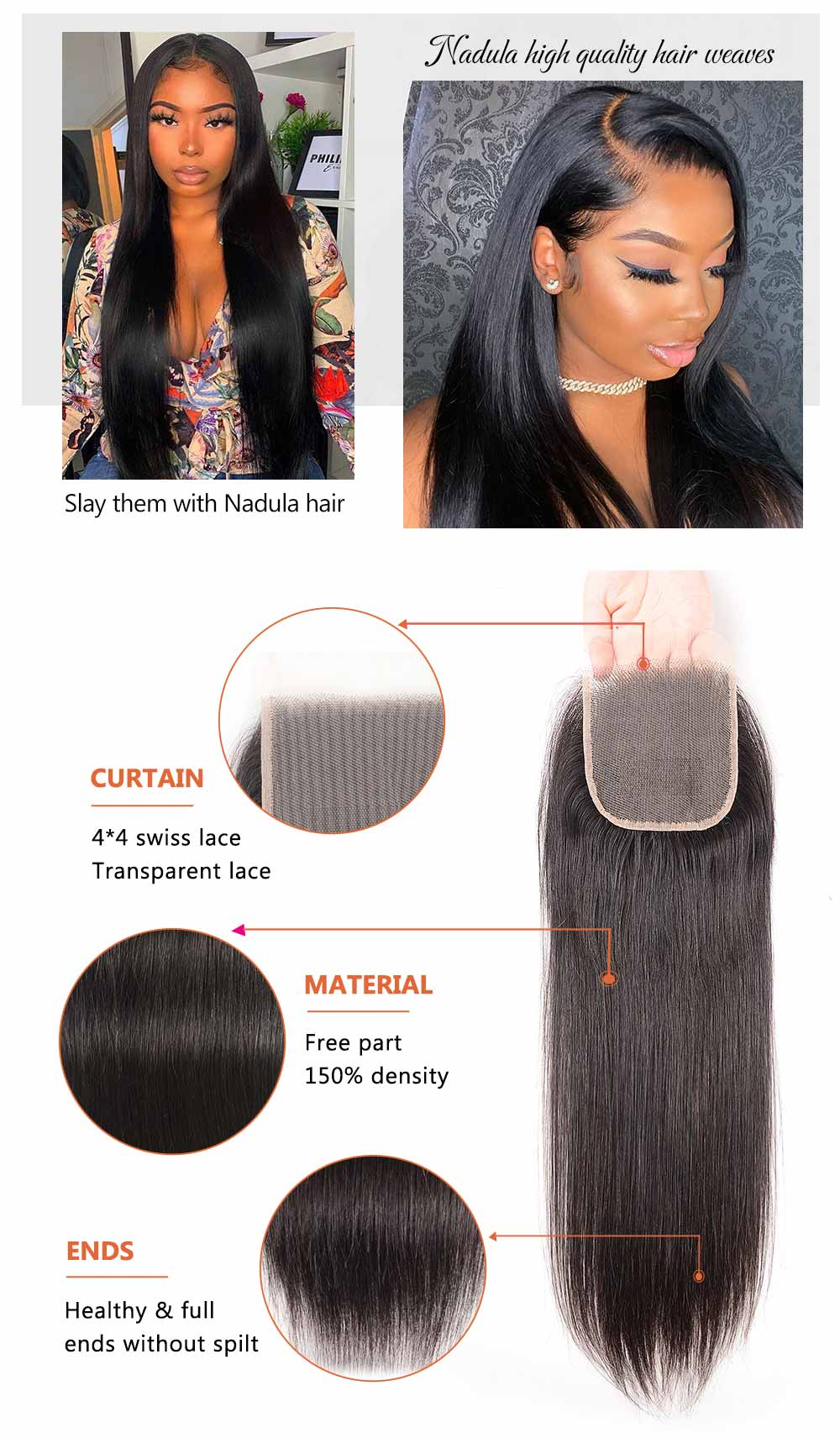 Transparent Lace Closure With Straight Virgin Hair Weave
