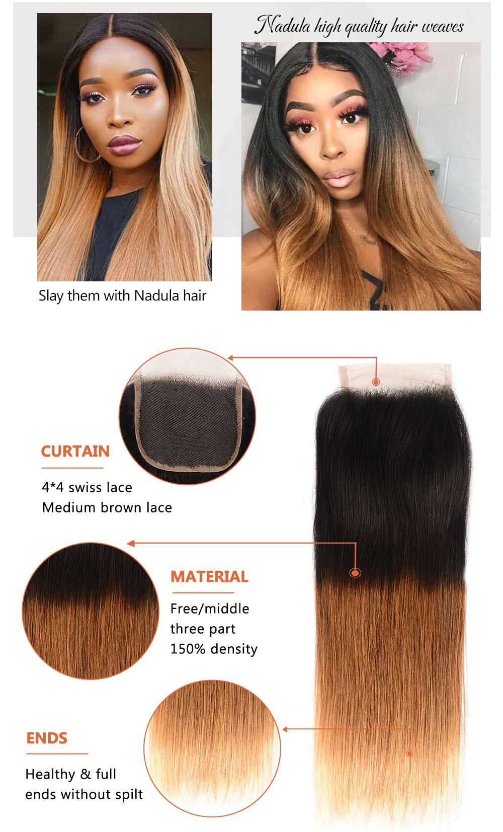 Ombre Free Part Lace Closure Straight 100% Virgin Human Hair