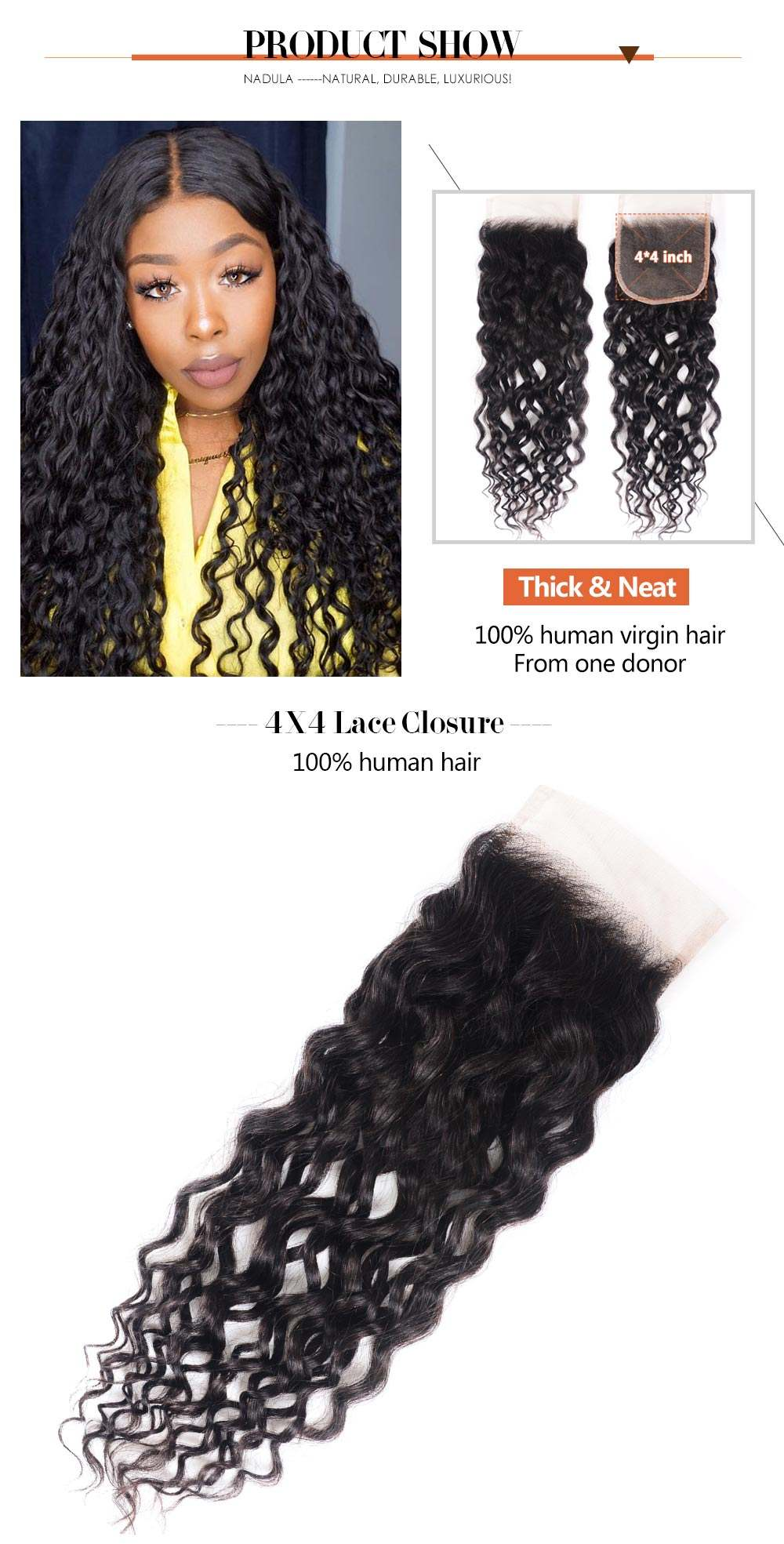 Water Wave 4*4 Lace Closure