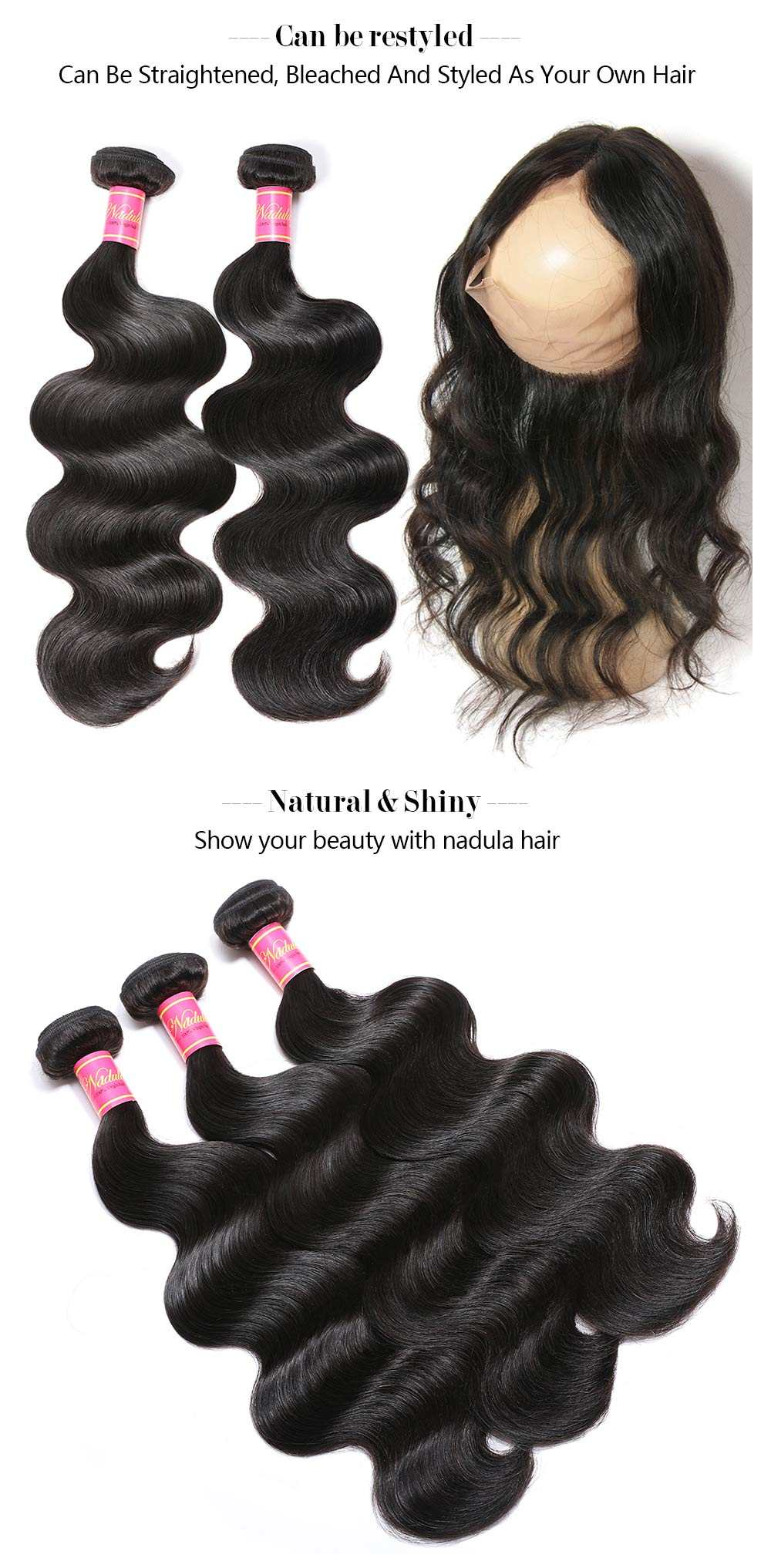 Body Wave Virgin Hair With 360 Lace Frontal