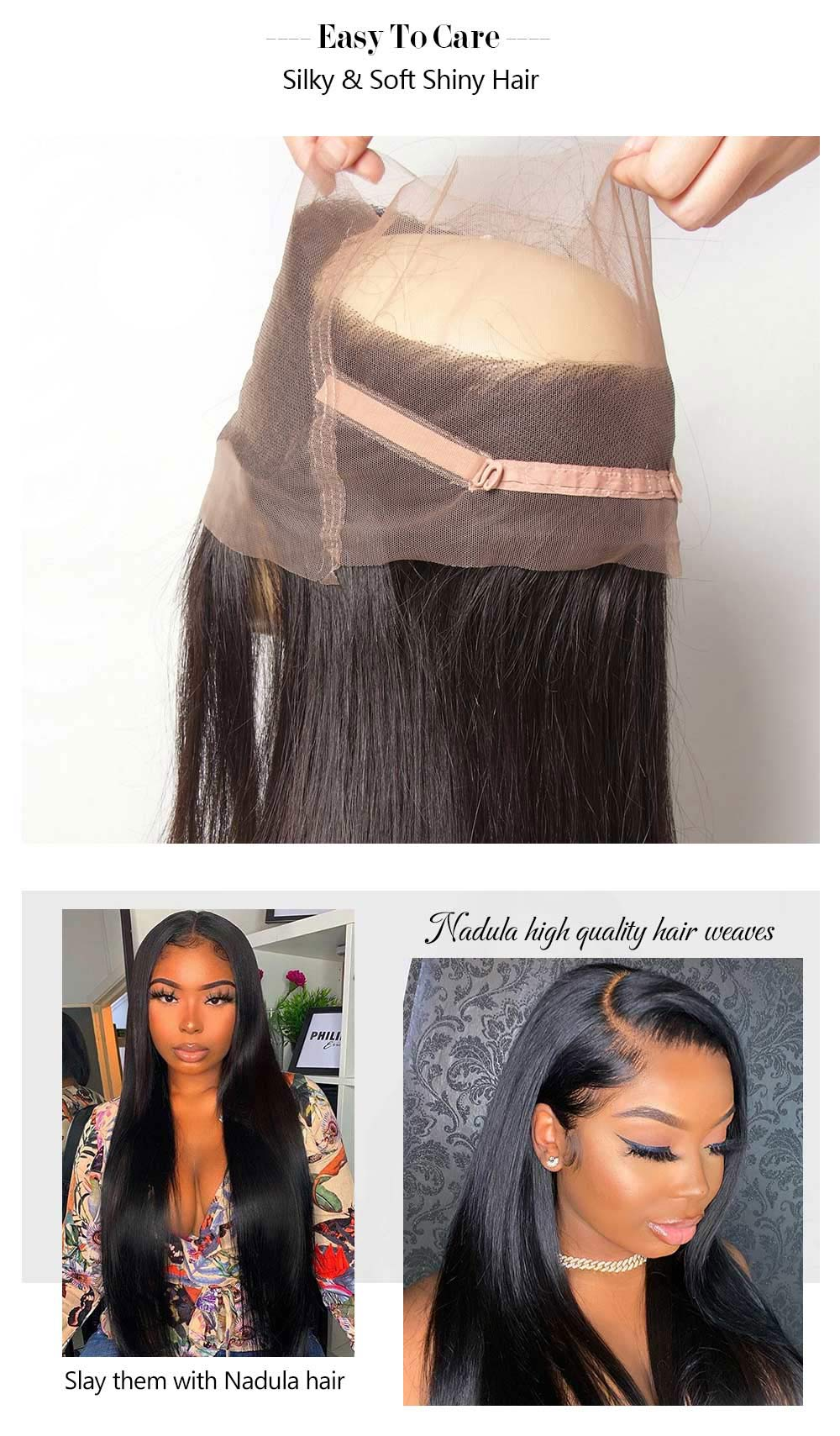 Straight Virgin Hair Weave Bundles With 360 Lace Closure