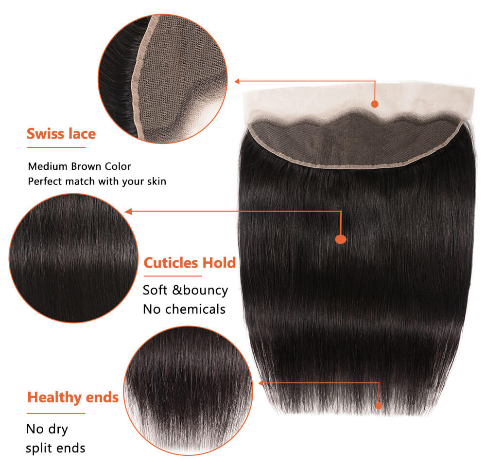 Nadula Wholesale Best Virgin Brazilian Straight Hair 3 Bundles With Lace Front Closure
