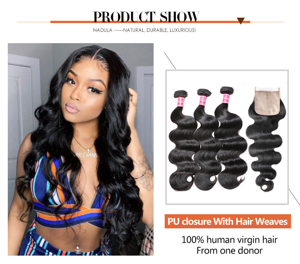 Nadula 4x4 Super Thin Skin PU Closure Fake Scalp Body Wave Closure 100% Virgin Human Hair