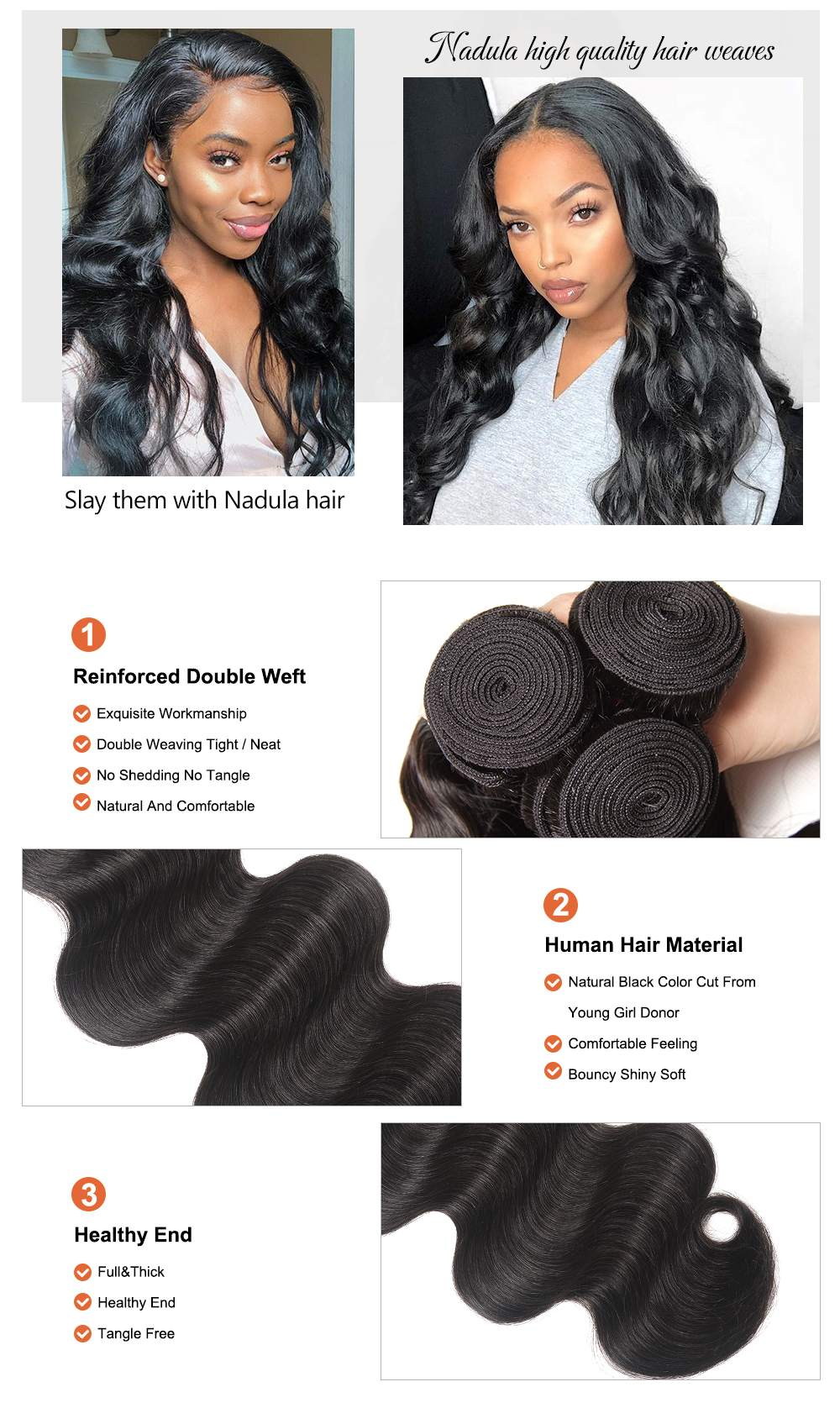 Body wave human hair weaves with lace frontal