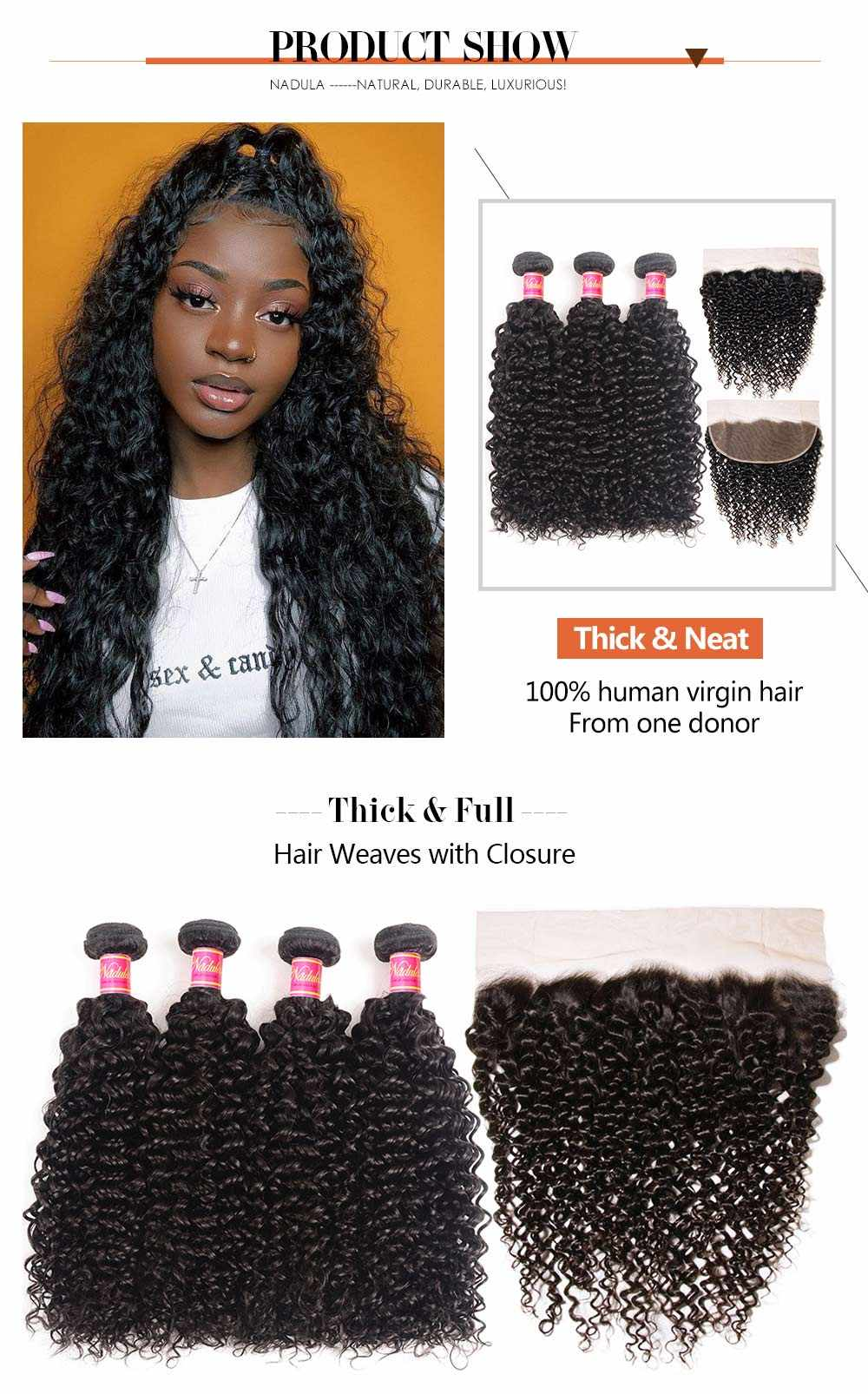 Curly Virgin Hair Weave With Lace Frontal Closure