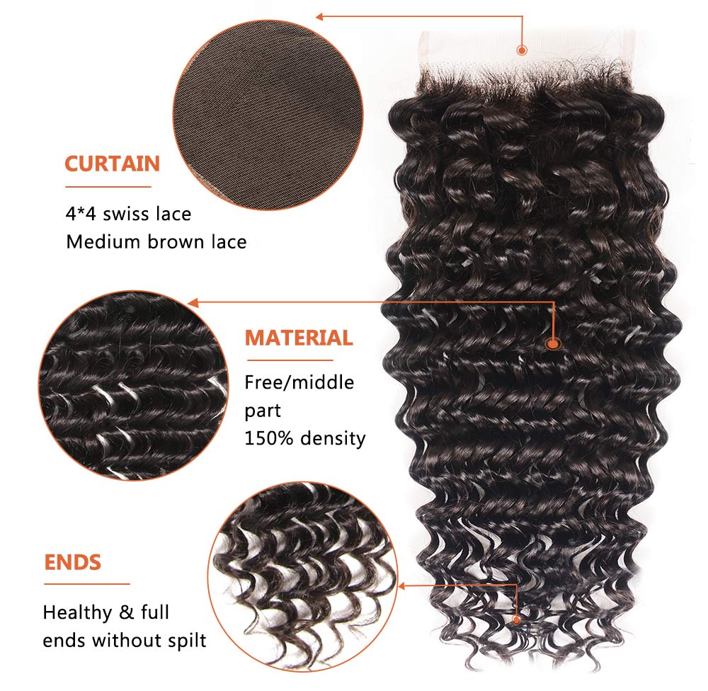 Deep Wave Virgin Hair Weave With Lace Closure