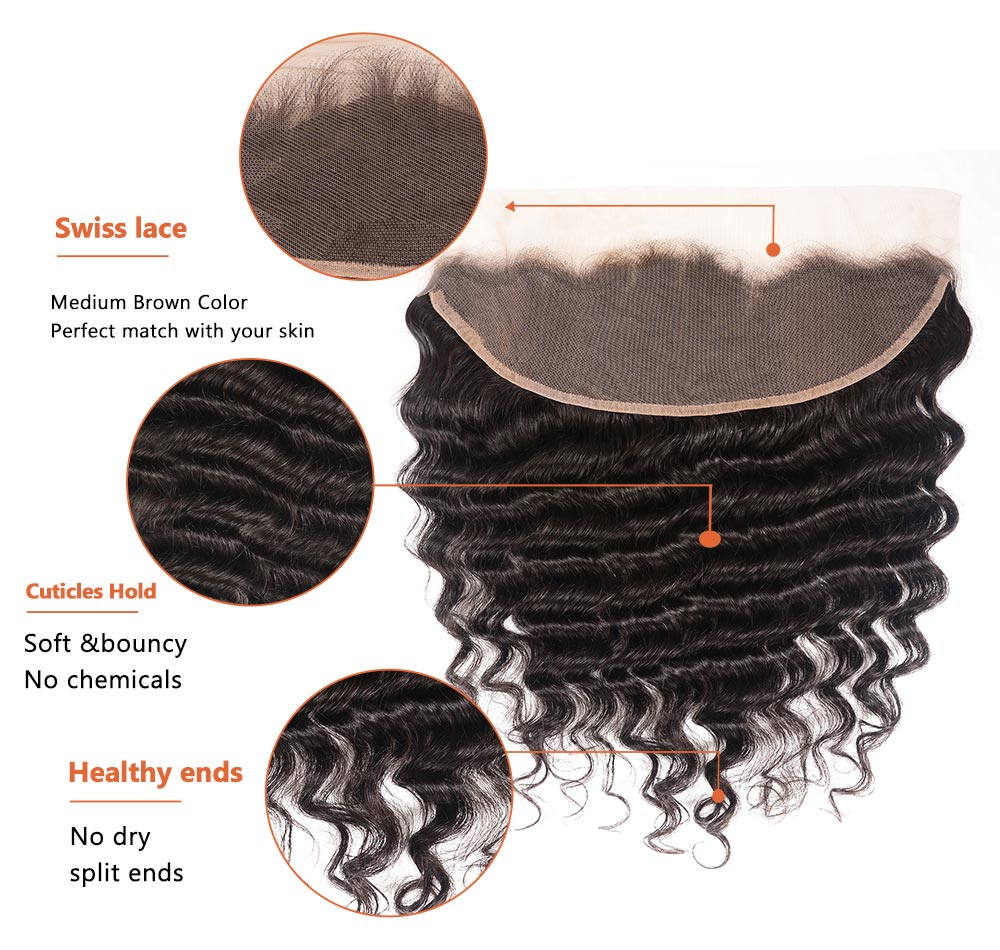 Loose Deep Virgin Hair  With Lace Frontal