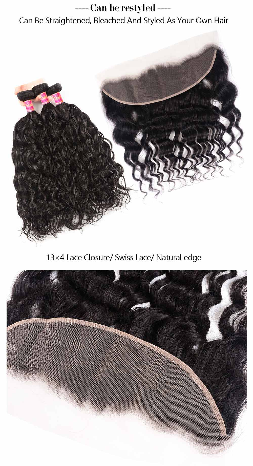 13x4 lace frontal Natural Wave Virgin Hair Weave