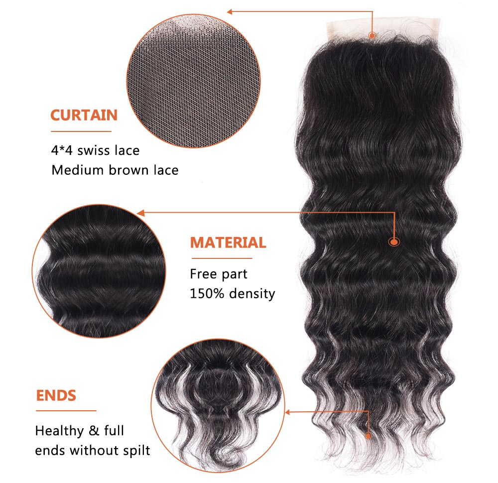 Virgin Hair Natural Wave With 4*4 Lace Closure