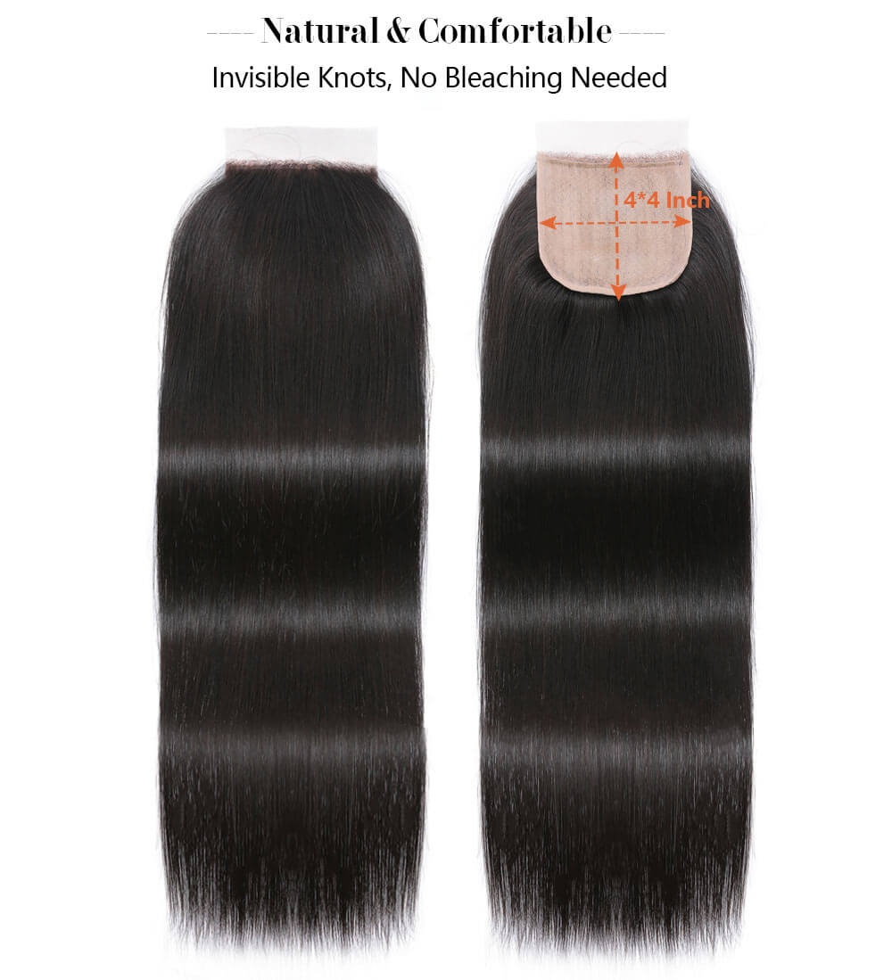 Nadula 4x4 Fake Scalp PU Closure With Straight Bundles Hair Weave Virgin Human Hair Pre-Plucked With Baby Hair Closure