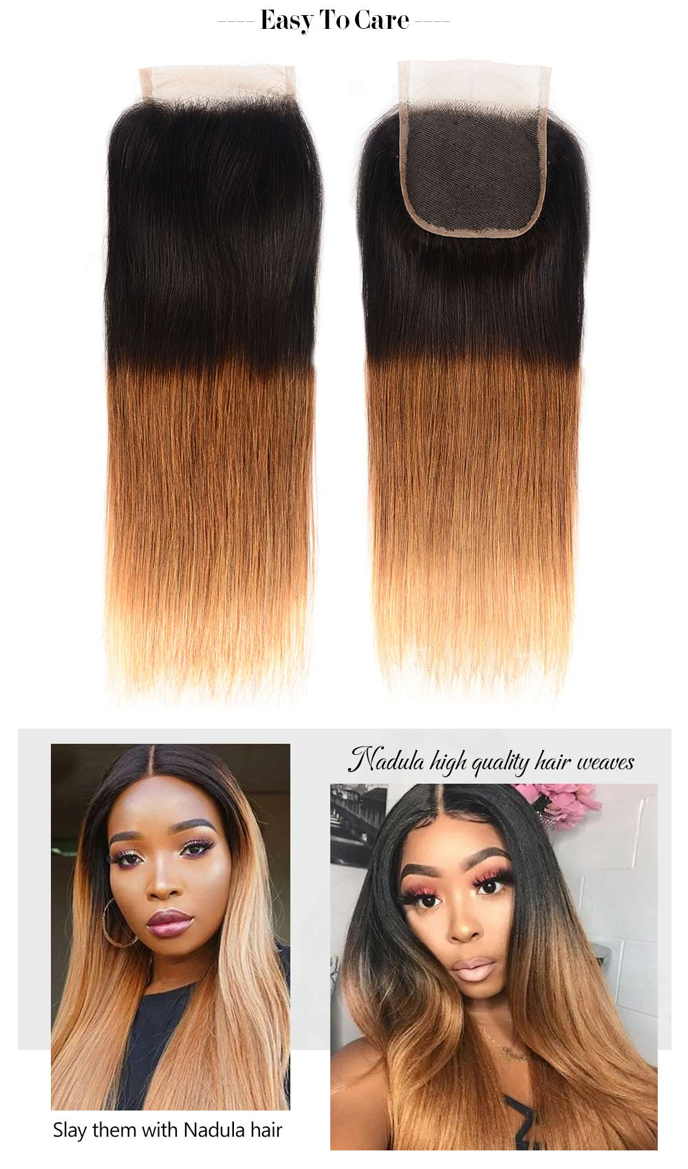 Ombre Straight Wave Hair Bundles With Closure