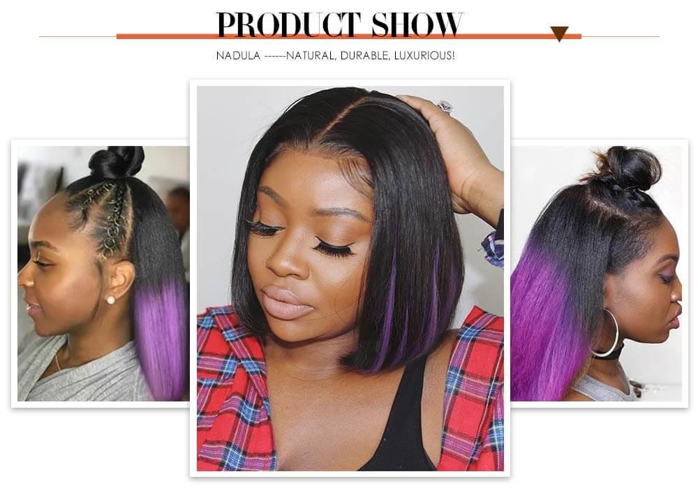 Nadula Bob Wig Short Hidden Purple Wig With Natural Black Color Fake Scalp Wig Underlight Hair Wig