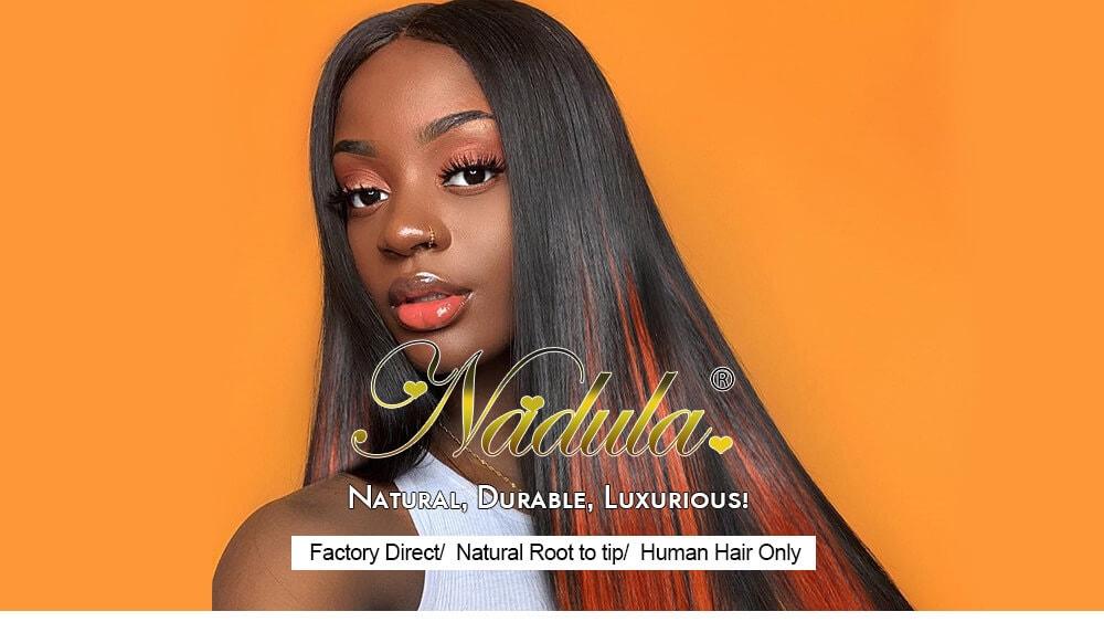 Nadula Hidden Orange Highlight Wig Soft Straight Wigs Underlight Hair Wig Fake Scalp Wig Natural Human Hair Wigs