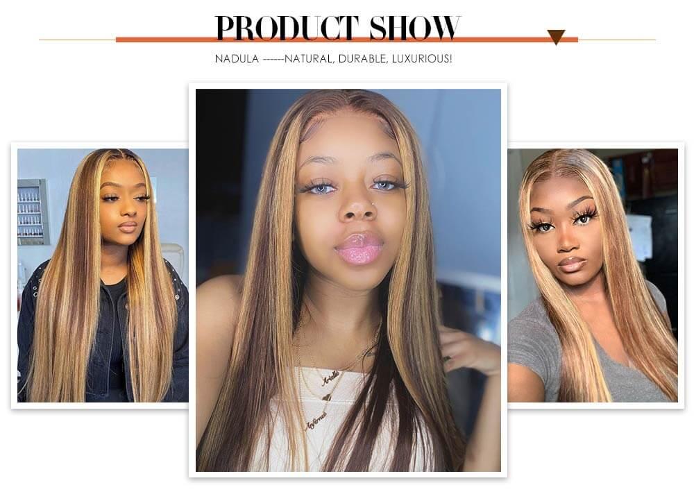 Nadula Straight Brown Wig Blonde Highlight Fake Scalp Wig Mid Part Wig Pu Invisible Knots Human Hair Wig
