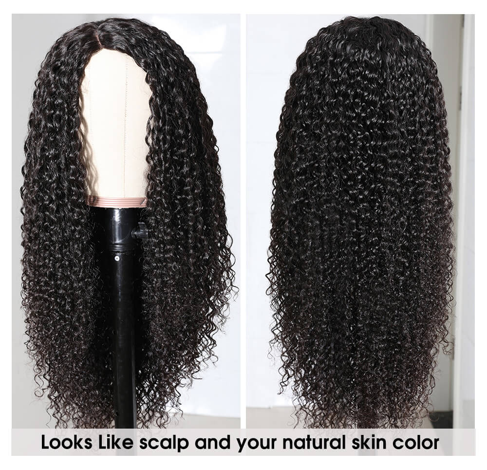 Nadula Curly Wigs Side Part Fake Scalp Wig Silk Base PU Wigs 150% Density Human Hair Wigs Natural Looking