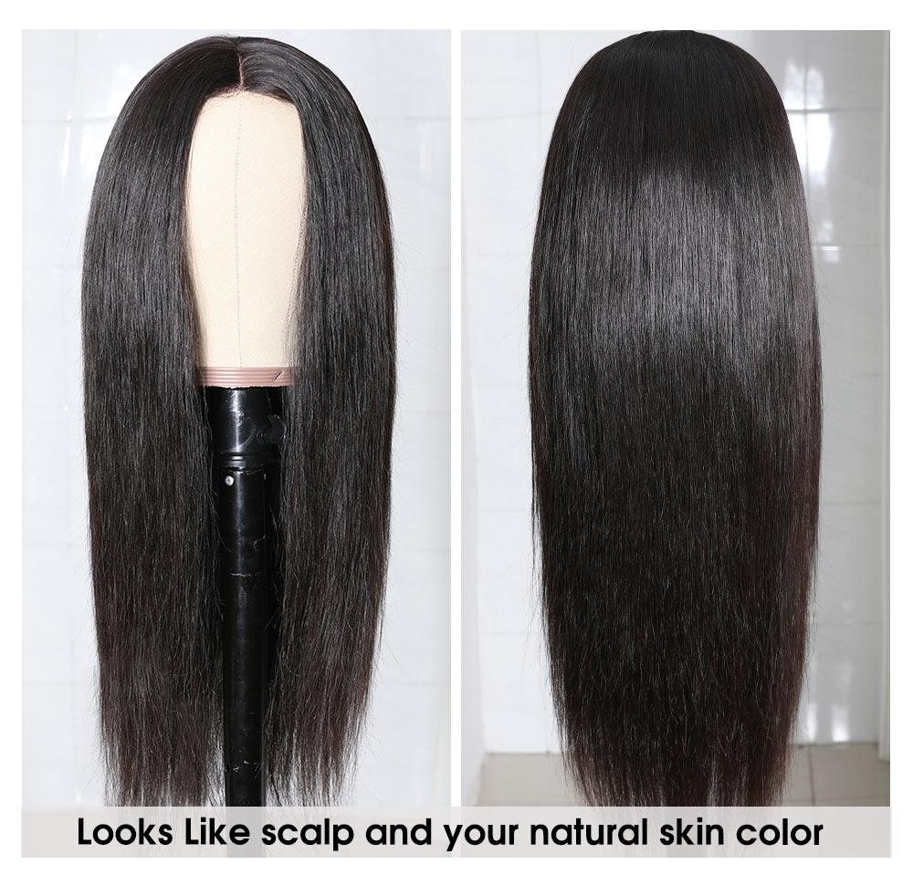 Nadula Straight Wig Fake Scalp Wig Silk Base Pu Wigs Soft Hair 150% Density Human Hair Wigs