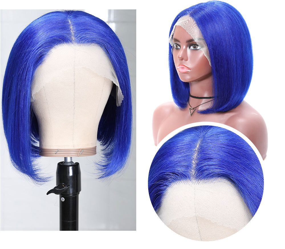Bob Wig Straight 13×4 Lace Frontal Wig Blue Colored Short Wig
