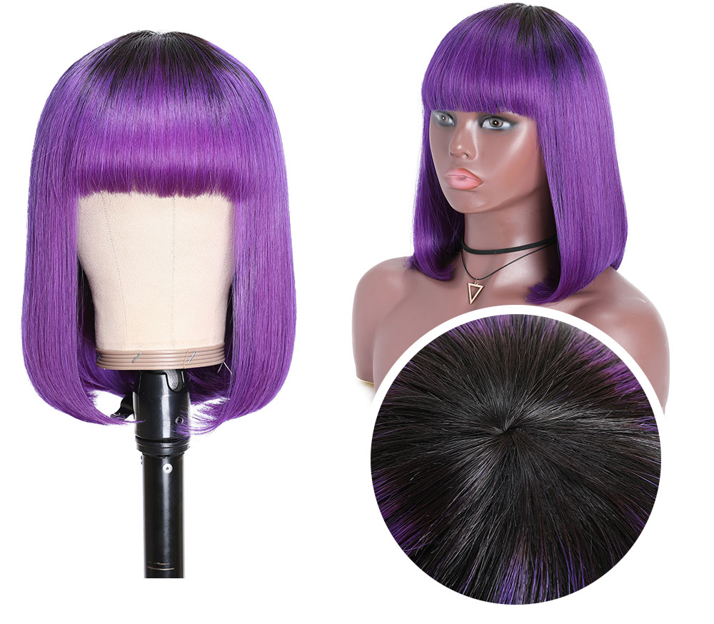 Short Bob Wig 1B/Purple Ombre Wig Glueless Bob Wig