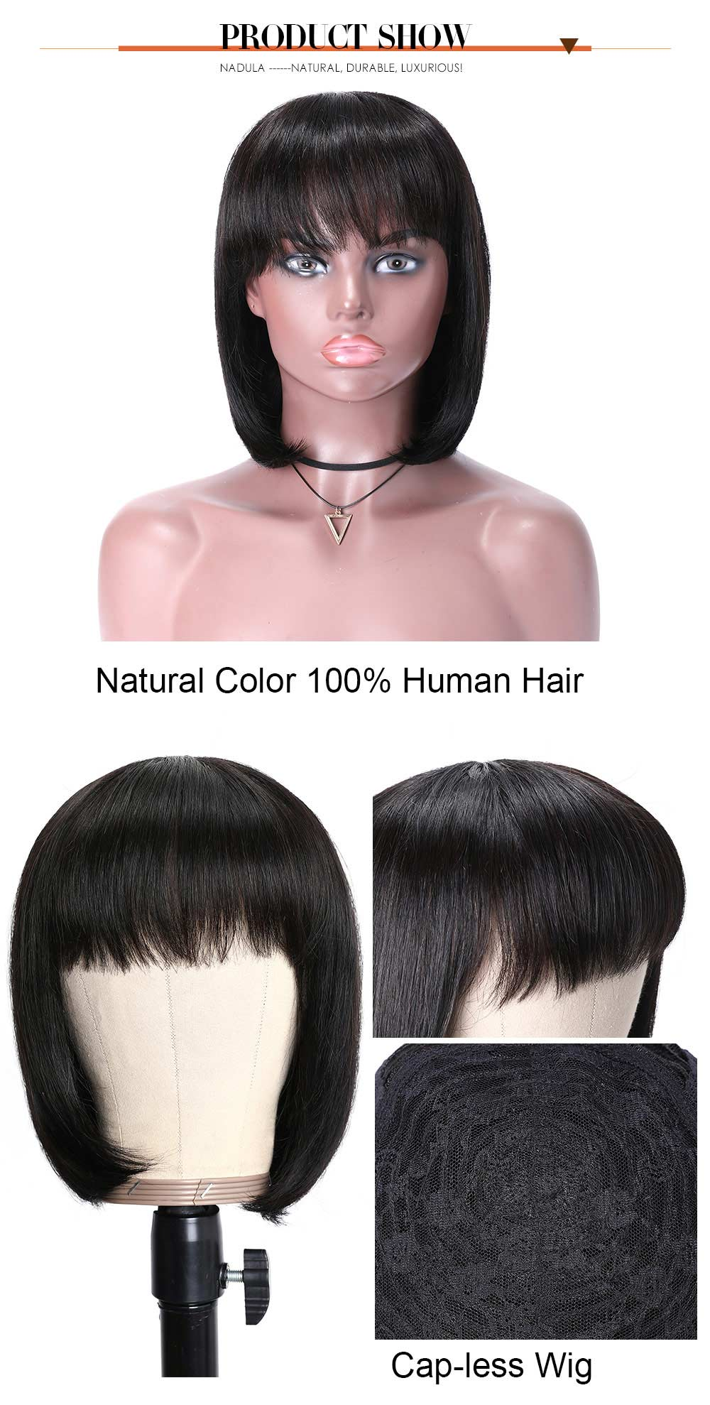 Human Hair Bob Wig With Bangs