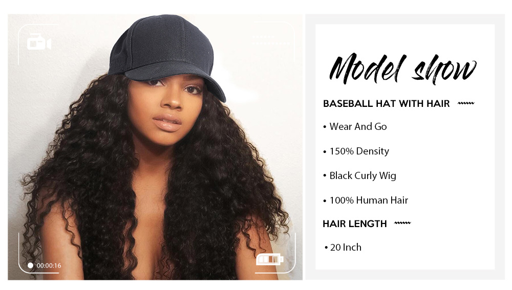 Nadula Baseball Hat Wigs Hat With Ponytail Wig Jerry Curl Black Long Hair Wig Human Hair 20 Inch