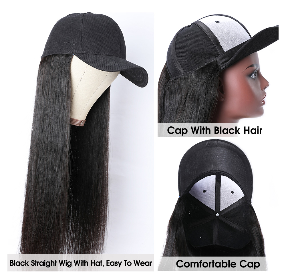 Nadula Baseball Hat With Ponytail Wig Black Straight Hair Wig Remy Human Hair 20 Inch