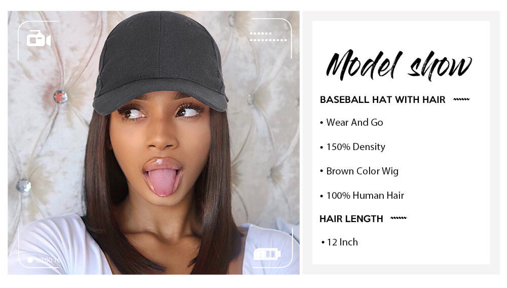 Nadula Baseball Hat With Hair Bob Wig Cap Wig 10 inch Straight Hair Wig 2# Dark Brown Wig With Black Cap