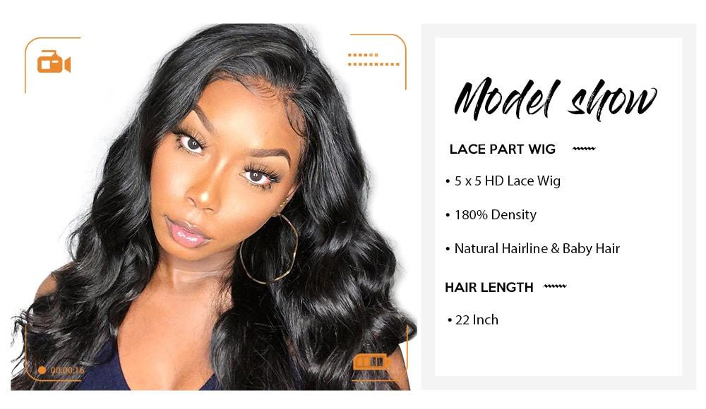 5x5 HD Lace CLosure Wig Human Hair Body Wave Natural Black Lace Fonrtal Closure Wig 180% Density