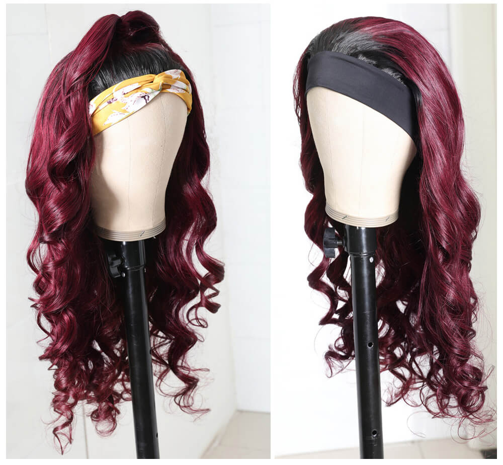 Nadula Ombre 99J Color Body Wave Headband Wigs