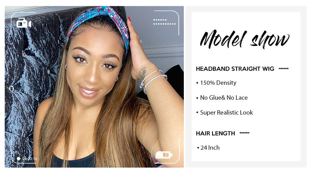 Nadula Black Roots Blonde Hair Ombre Half Wig With Headband youtuber show