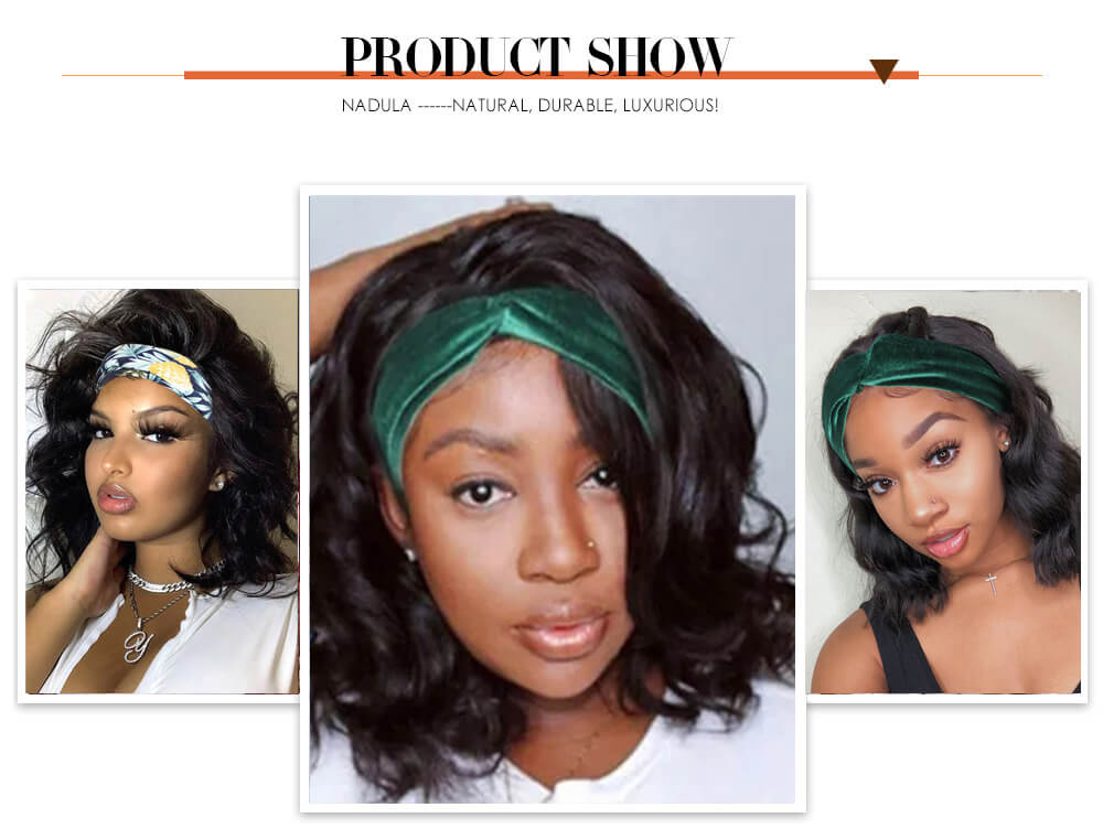 Nadula Headband Wigs Natural Black Short Bob Wigs