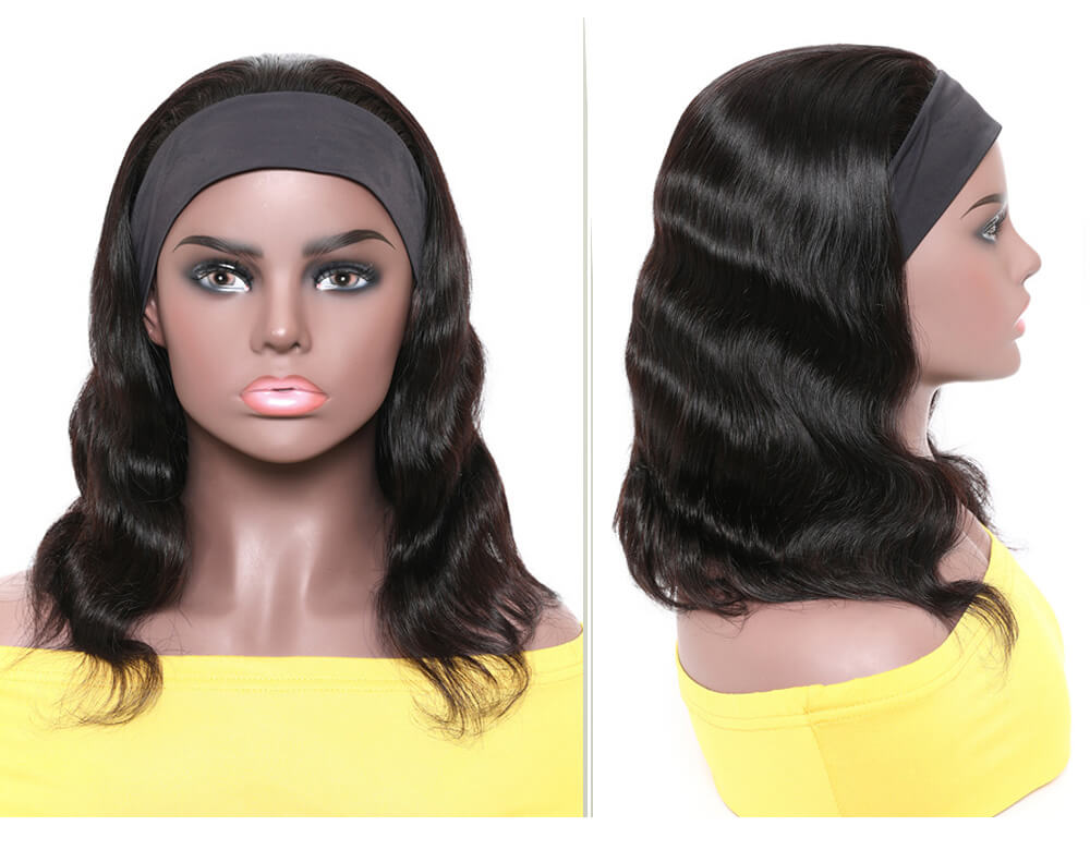Nadula Body Wave Headband Wigs Natural Black Short Bob Human Hair Wigs