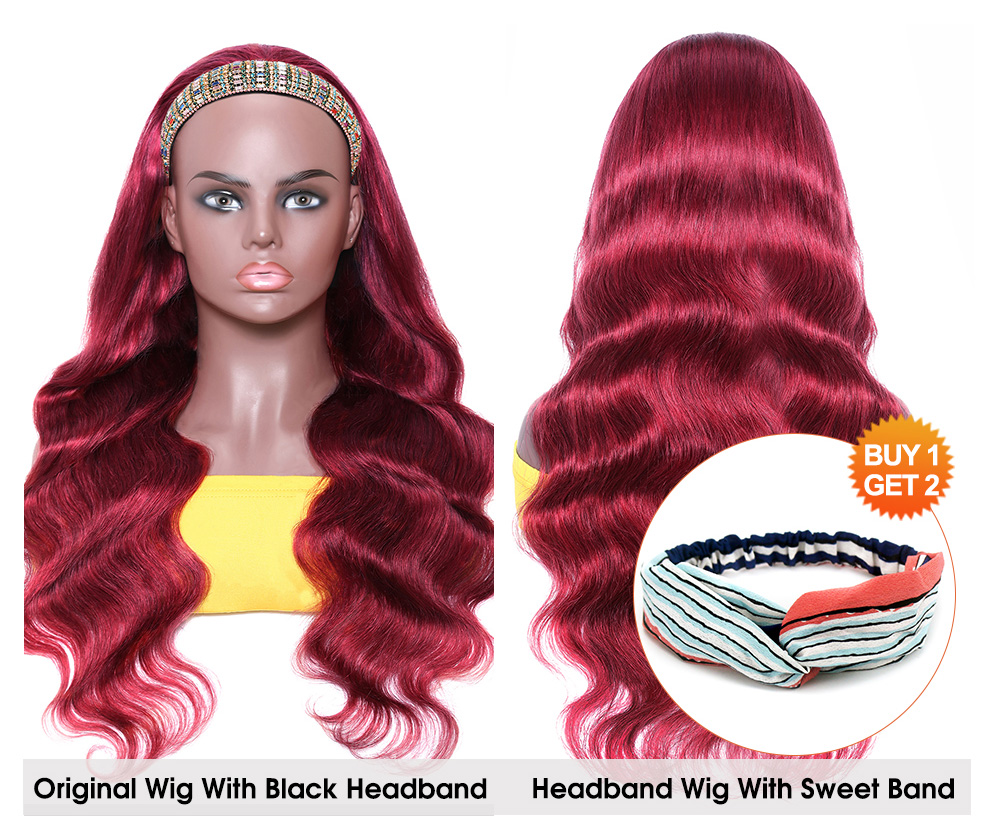 Nadula Burgundy Wigs Adjustable Headband Wig Glueless Human Hair Wigs With Pre-attached Scarf