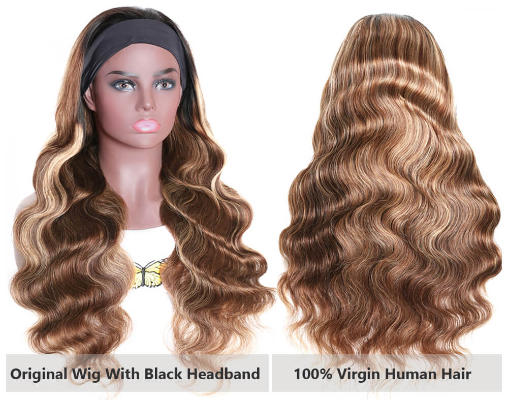 Nadula Body Wave Wig Blonde Highlight Human Hair Headband Wigs