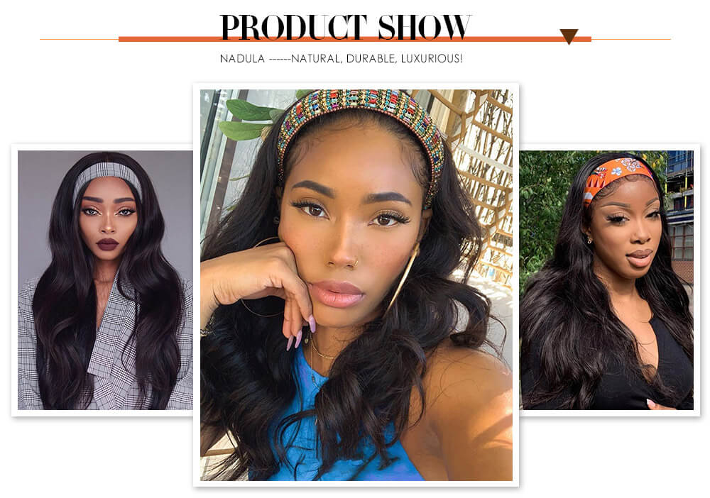Nadula Headband Wig Body Wave Wigs With Scarf Natural Black Glueless Human Hair No Sew In