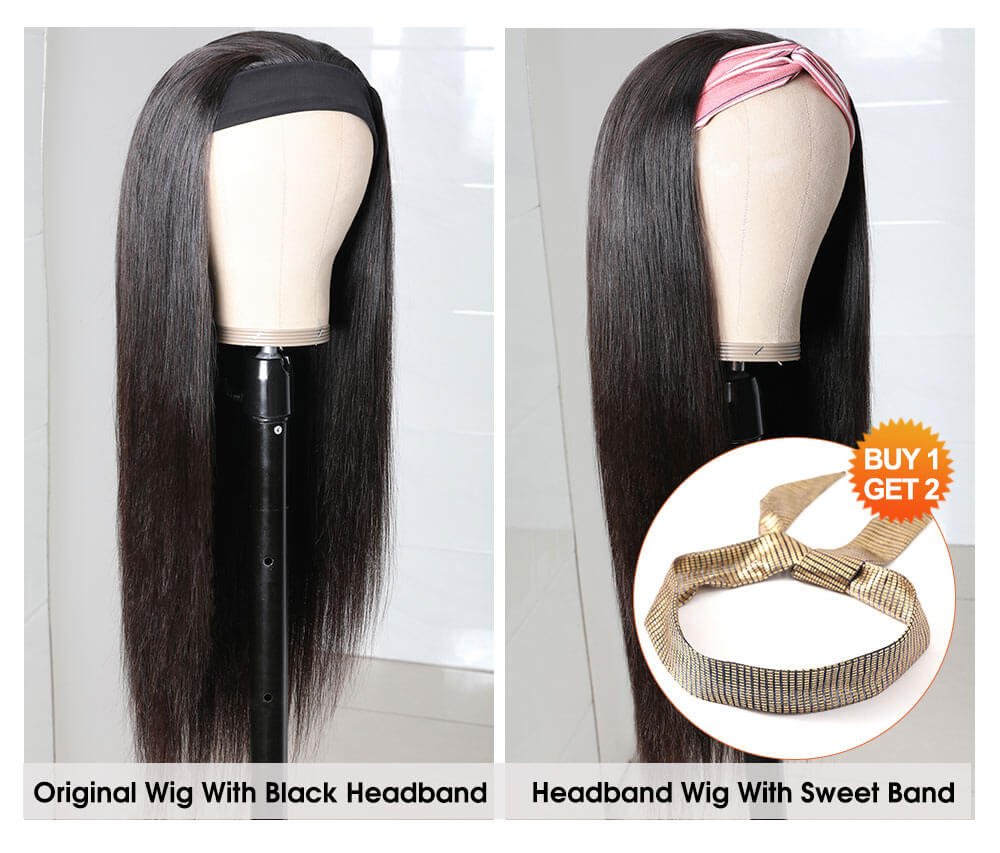 Nadula Straight Hair Wig Headband Wig Long Straight Wigs Glueless Human Hair Wigs Natural Black