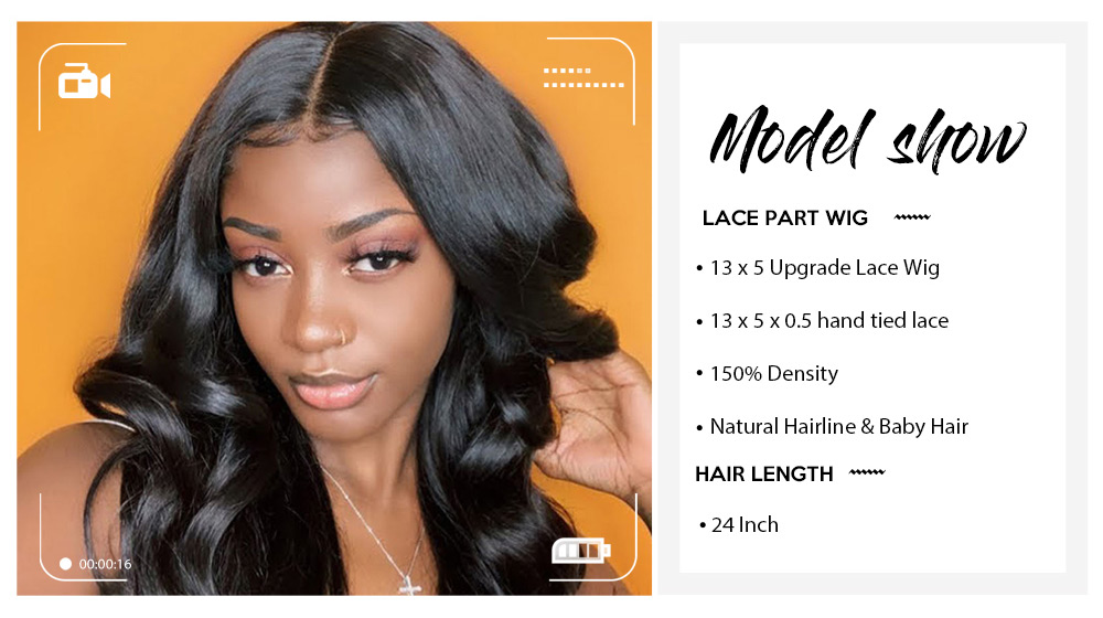 Nadula Lace Front Closure Wigs Fake Scalp Remi Hair Wigs Midle Part Body Wave Natural Black 14-24 Inch 150% Density