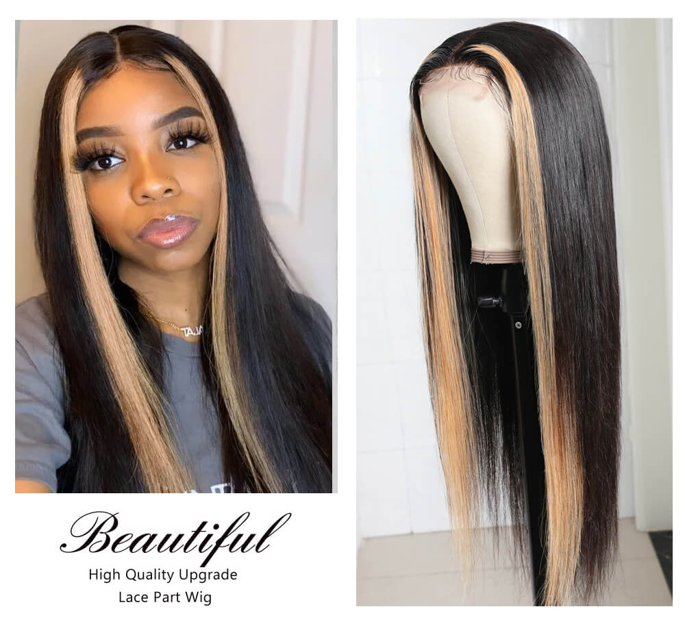 Nadula 4 By 0.75 Inch T Part Lace Wig Straight Strawberry Honey Blonde Highlight Wig