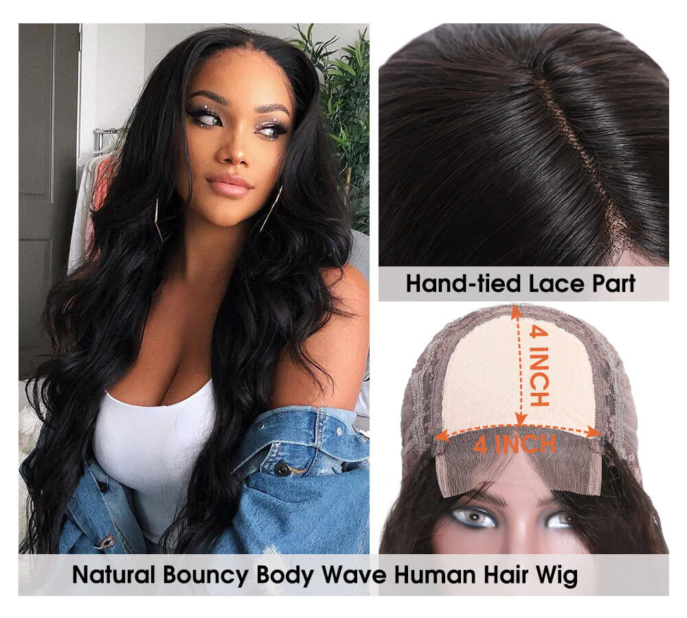 Nadula 4×4 Lace Wig Human Hair Wigs Body Wave With Baby Hair 150% Density Wigs Pre-Plucked Hairline