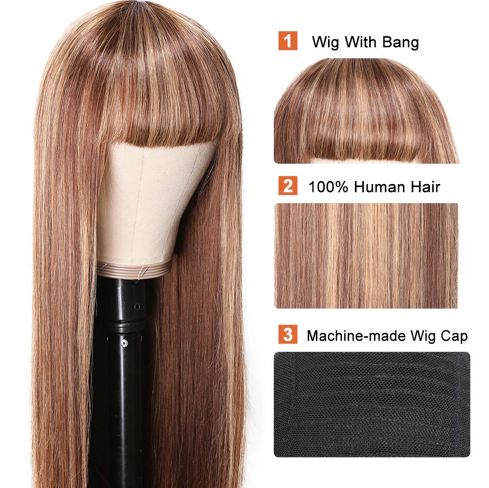 Straight Wig Brown Wig With Bang Blonde Highlight Capless Wig