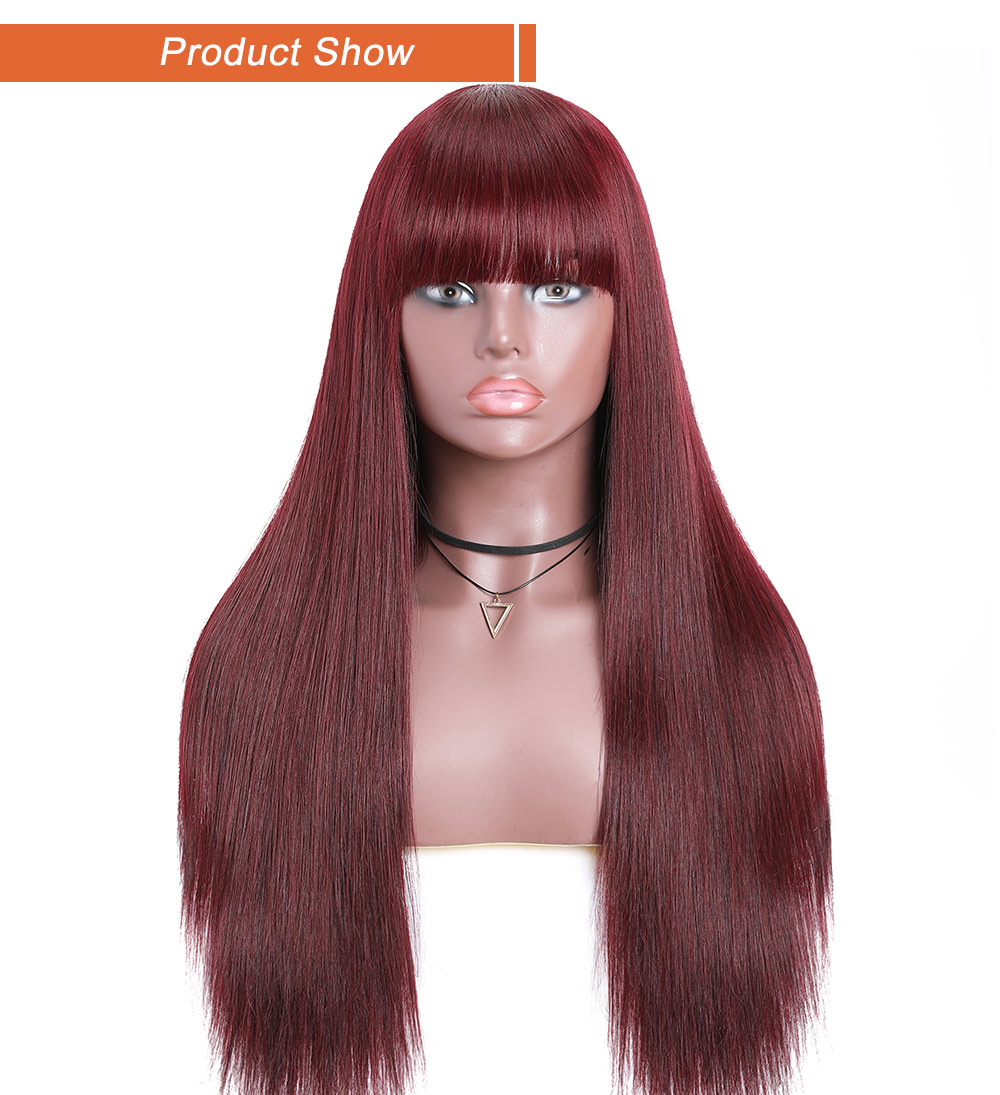 99j Wig Straight Wig With Bang Burgundy Red Wig Capless Long Wig