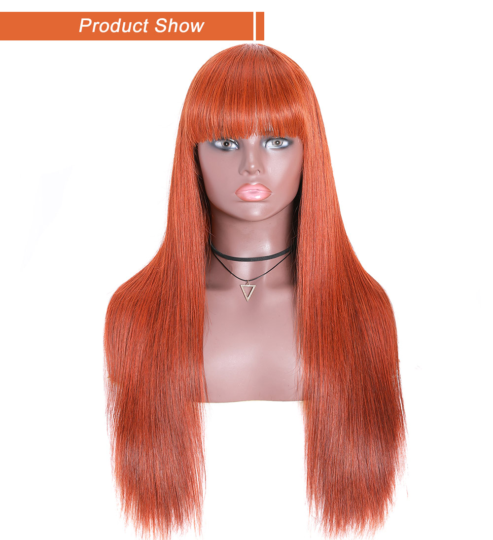 #33 Colored Wig Straight Wig With Bang Dark Auburn Wig Capless Long Wig