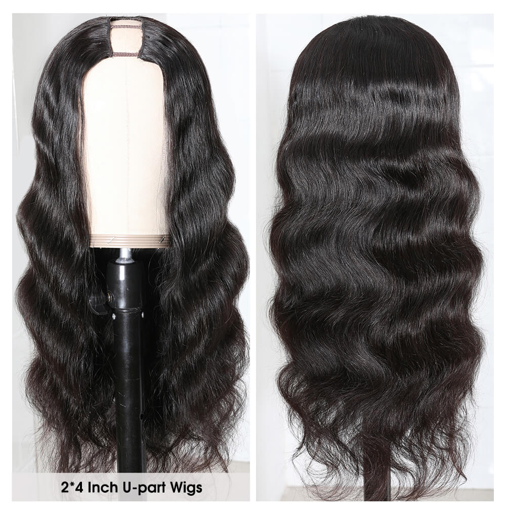 Nadula U Part Wig Body Wave U Part Human Hair Wigs 150% Density Glueless Natural Looking Hairline