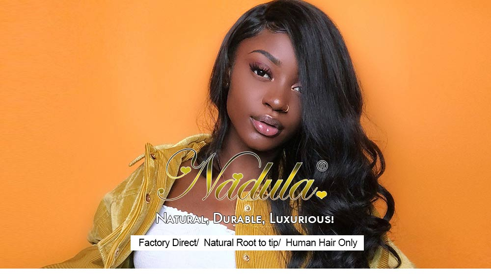 Nadula U Part Body Wave Wigs 2×4 inch U Part Dark Aubrun Virgin Human Hair Wigs 12-24 Inch 150% Density