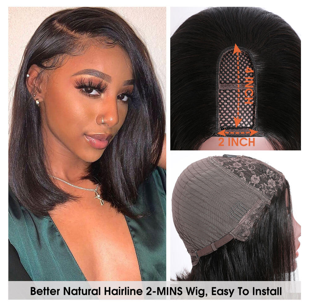 Nadula U Part Bob Wig 150% Density Straight Short U Part Natural Hair Wig Remy Human Hair