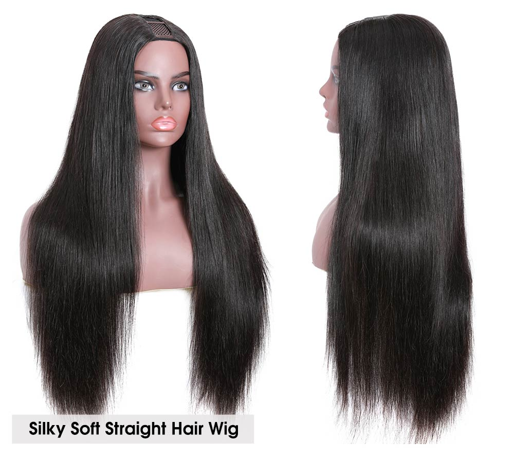 Nadula Straight U Part Wig Virgin Remy Human Hair Soft Silky Straight Wigs 150% Density Human Hair Wig
