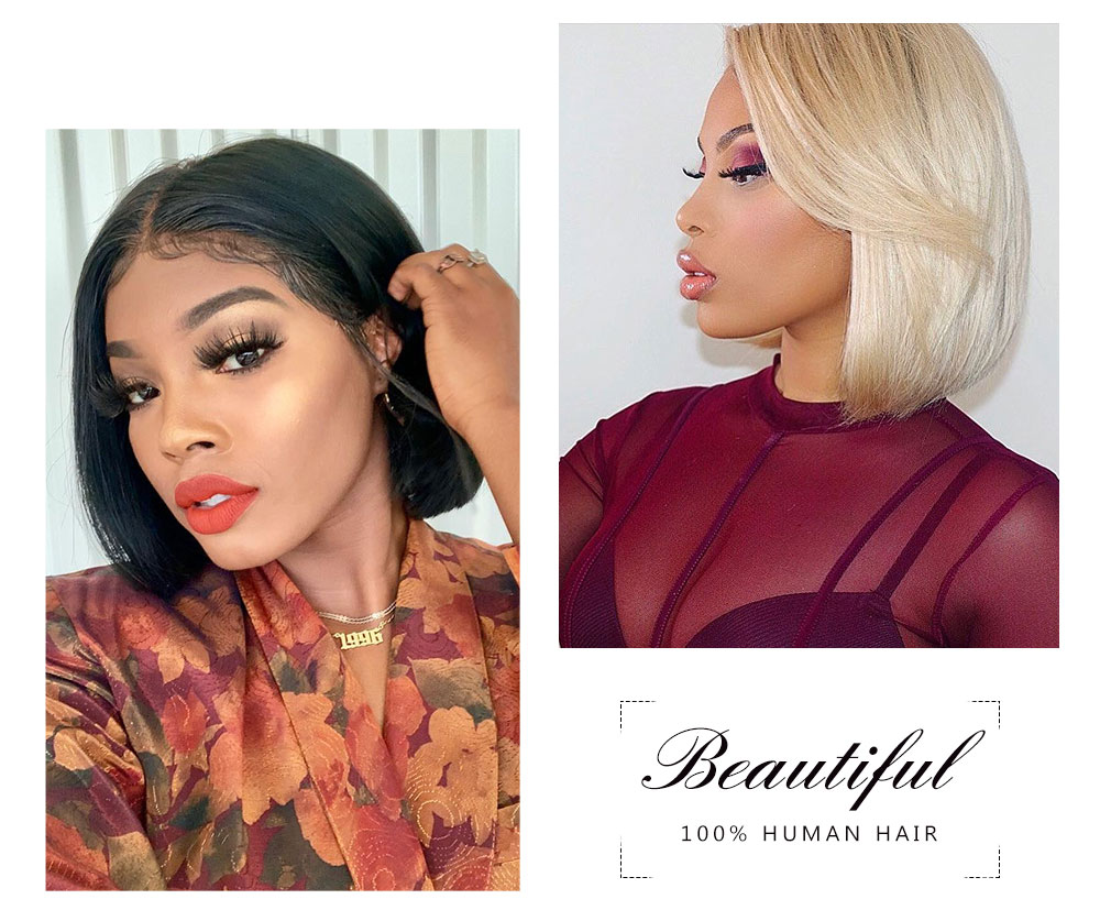 Nadula Straight Short Bob Wig Lace Frontal 130% Density Wig Pre Plucked 100% Human Hair Super Soft