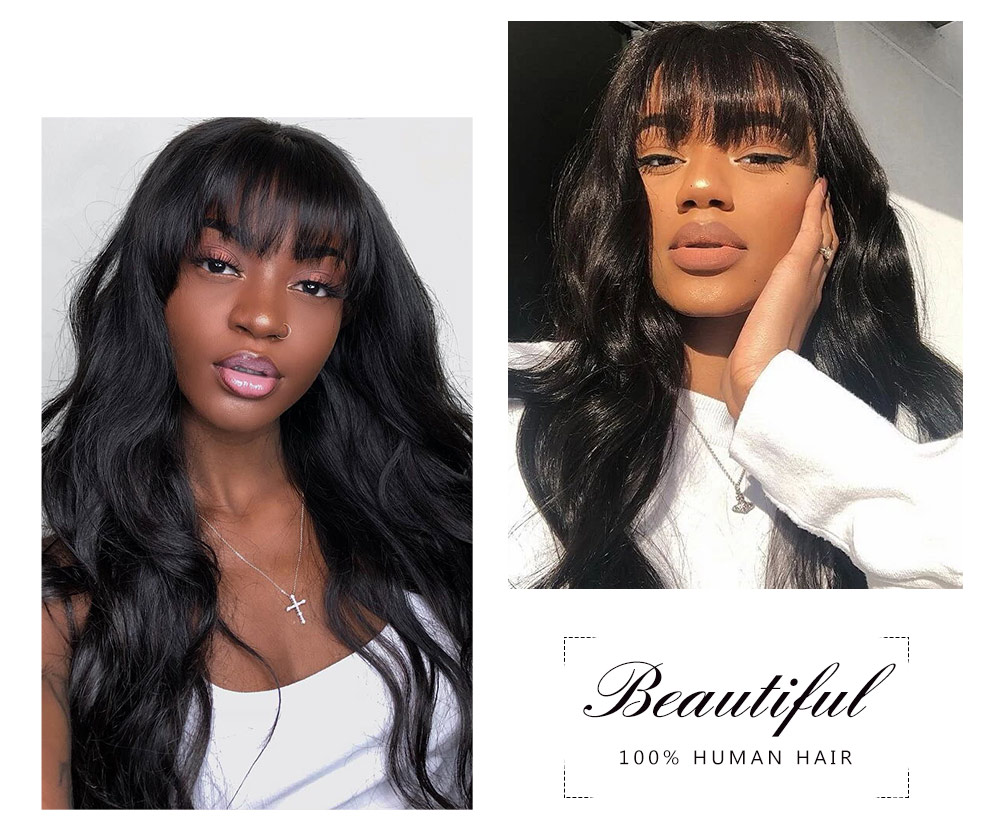 Nadula 100% High-quality Virgin Human Hair Capless Wigs Body Wave Hair With Bangs 150% Density Wig