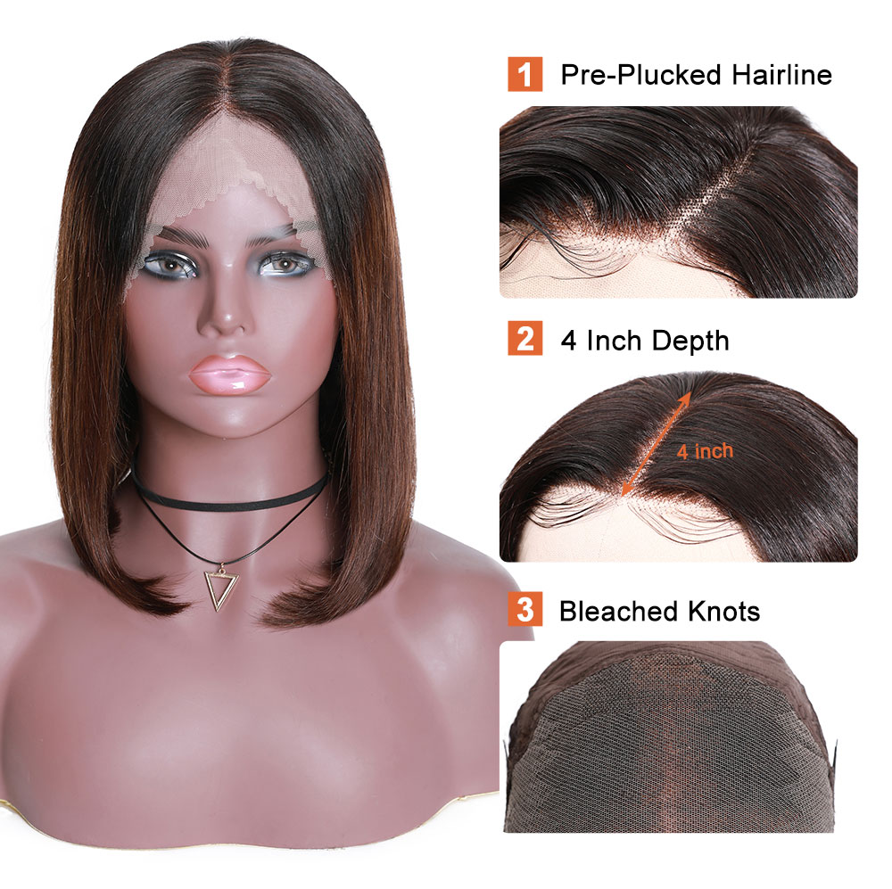 Nadula Bob Style Lace Front Wigs 13X4 Lace Wig Straight Pre Plucked Wigs With Baby Hair T1B/4 Ombre Wig