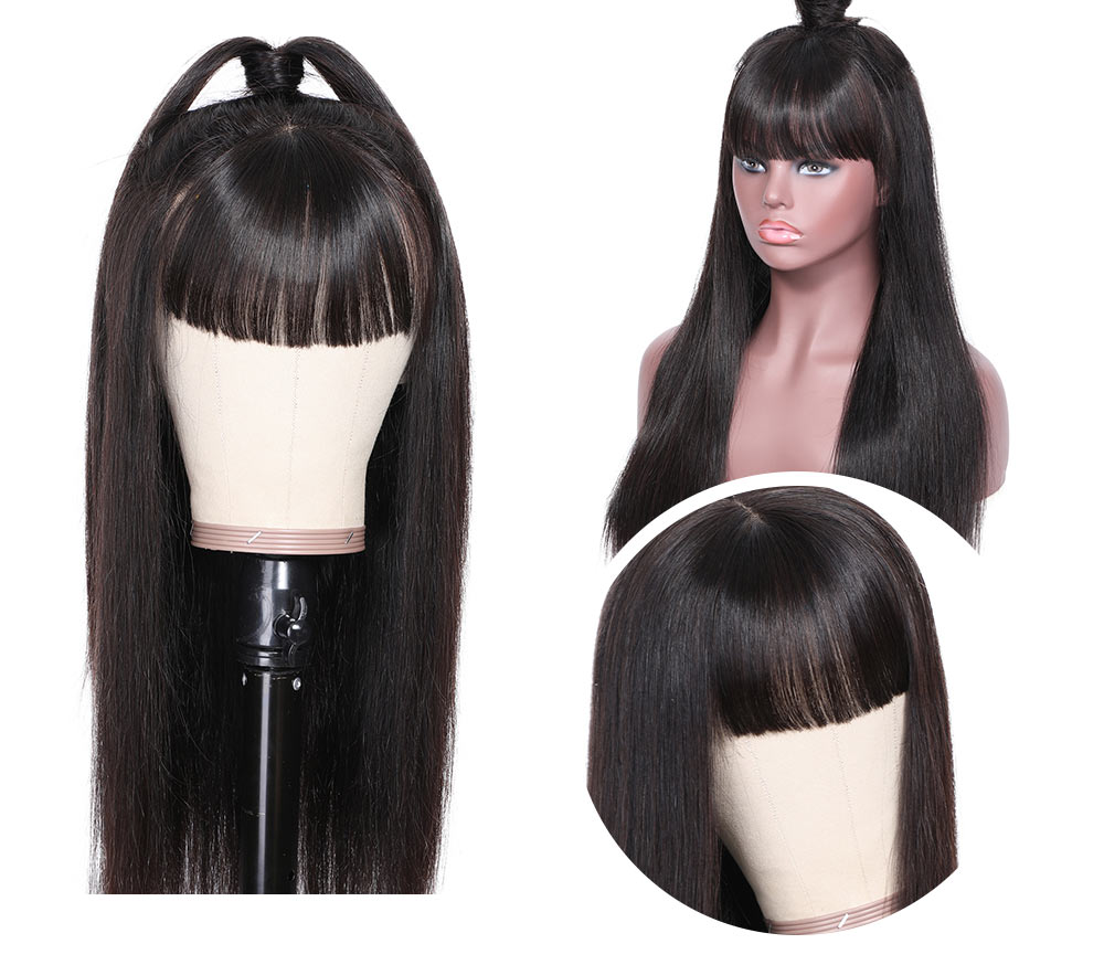 Nadula Transparent Lace Front Wigs With Bangs Long Straight 13x4 Lace Wig Remy Virgin Hair 12-24 Inch