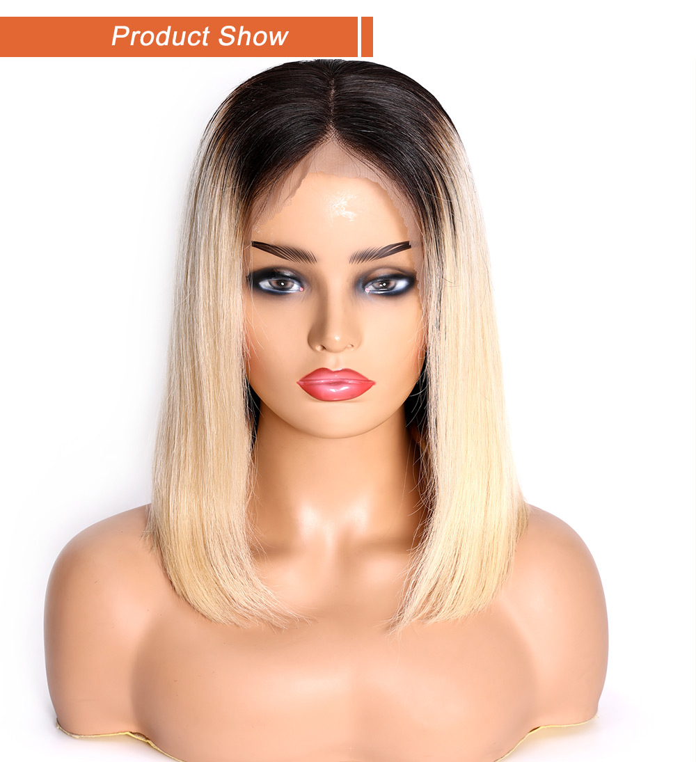 Nadula Dark Roots Blonde Bob Wig Lace Front Wig Guleless Pre Plucked Ombre Wig Straight 130% and 150% Density Remy Hair Wigs